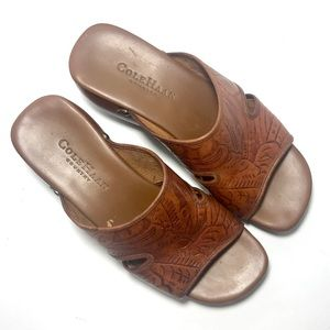 Cole Haan US 5B Brown Tooled Leather Slide Sandals